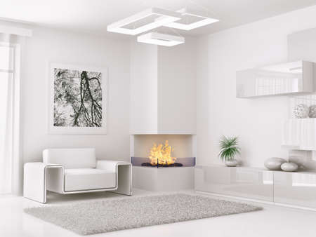 Photo for Interior of modern white room with armchair and fireplace 3d render - Royalty Free Image