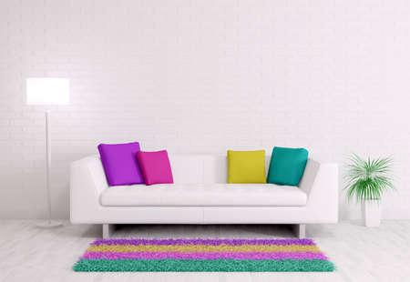 Foto de Modern interior of room with white sofa 3d render - Imagen libre de derechos