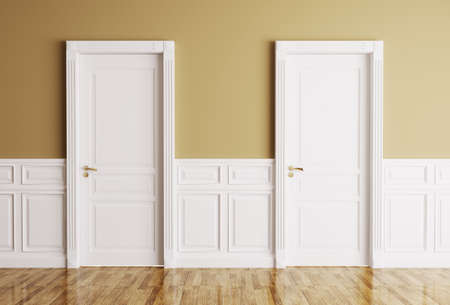 Photo pour Interior of a room with two classic doors - image libre de droit