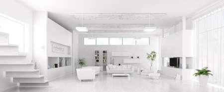 Foto de Interior of modern white living room panorama 3d render - Imagen libre de derechos