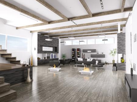 Photo pour Interior of modern living room 3d render - image libre de droit