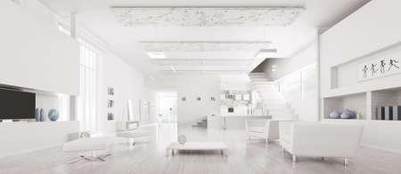 Foto de Interior of modern white apartment hall kitchen panorama 3d render - Imagen libre de derechos
