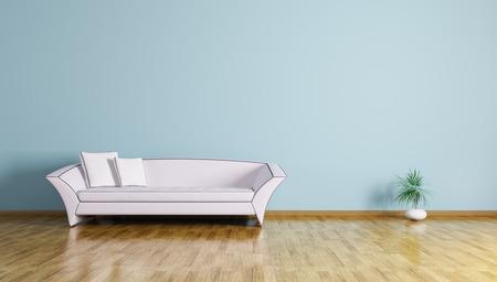 Foto de Interior of living room with white sofa 3d render - Imagen libre de derechos