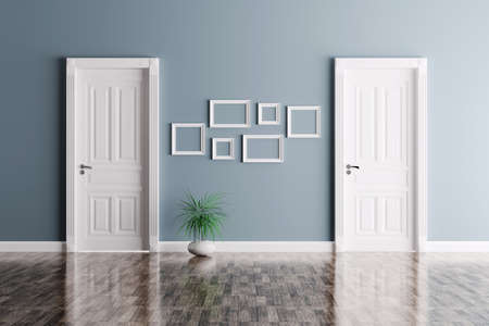 Photo pour Interior of a room with two classic doors and frames - image libre de droit