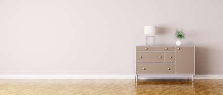 Foto de Interior of a room with chest of drawers panorama - Imagen libre de derechos