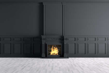 Photo pour Interior of empty classic room with fireplace over black panels wall 3d rendering - image libre de droit