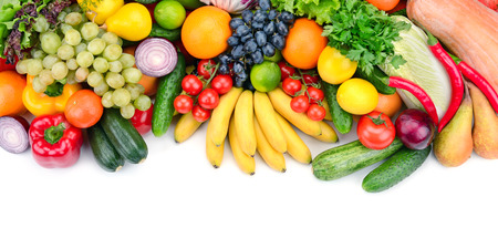 Photo pour fresh fruits and vegetables isolated on white background - image libre de droit