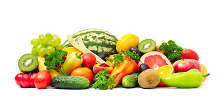 Foto de Collection fruit and vegetables on white - Imagen libre de derechos