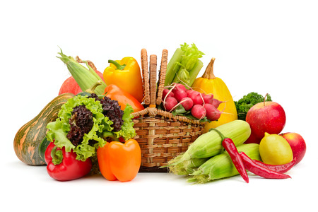 Photo pour assortment vegetables and fruits in basket isolated on white background - image libre de droit