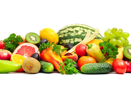 Photo for Collection fruit and vegetables on white - Royalty Free Image