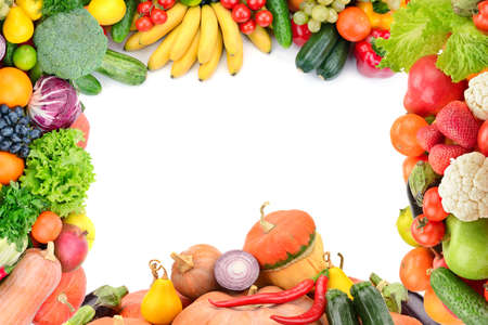 Photo for Frame of vegetables and fruits on white - Royalty Free Image
