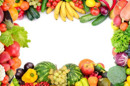Photo for Frame of vegetables and fruits on white background - Royalty Free Image
