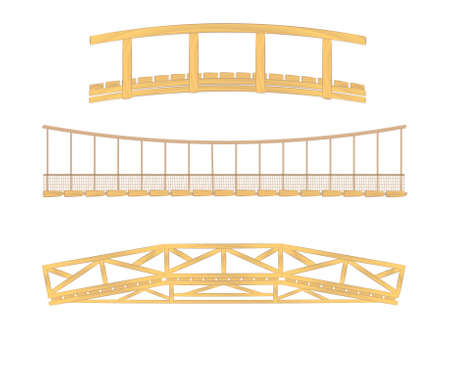 wooden and hanging bridge vector illustrations