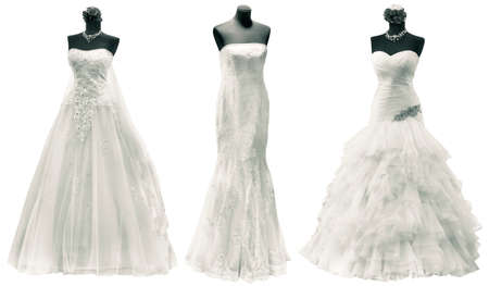 Photo pour Three Wedding Dress Isolated with Clipping Path - image libre de droit