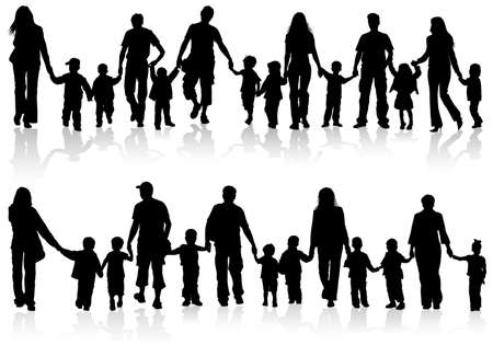 Illustration for Large Set of Silhouettes of Parents with Children holding Hands - Royalty Free Image