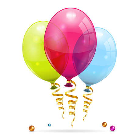 Illustration pour 3D Transparent Birthday Balloons with Streamer - image libre de droit