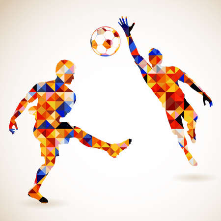 Ilustración de Silhouette Soccer Player and Goalkeeper in Mosaic Pattern, vector illustration - Imagen libre de derechos