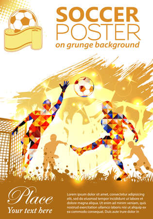 Soccer Poster with Players and Fans on grunge background, vector illustration
