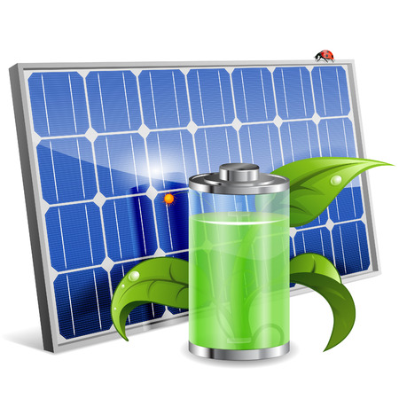 Illustration pour Green Energy Concept with Solar Panel, Battery and Young Sprout, vector isolated on white background - image libre de droit