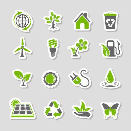 Ilustración de Collect Environment Icons Sticker Set with Tree, Leaf, Light Bulb, Recycling Symbol. Vector in two colours. - Imagen libre de derechos