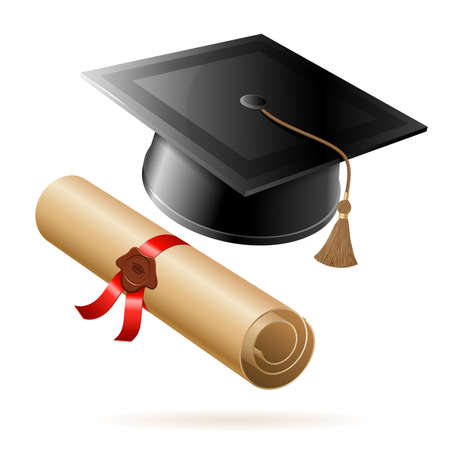 Illustration pour Education concept - Graduation Cap and Diploma. Vector isolated on white background. - image libre de droit