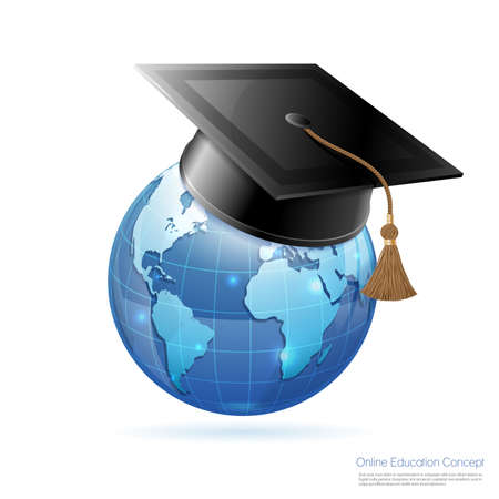 Illustration pour Online Education & E-Learning Concept with realistic 3D icons Earth and Mortarboard. Vector illustration isolated on white. - image libre de droit