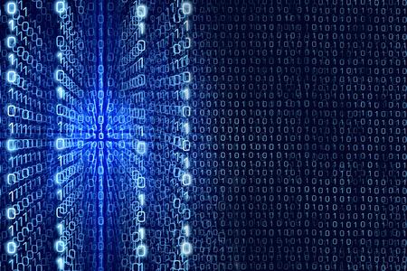 Foto de Blue Matrix Abstract - Zeros and Ones - binary code Digital background - Imagen libre de derechos