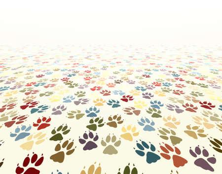 Editable vector illustration of dog paw prints