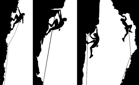 Set of editable vector side panel silhouettes of climbers with all elements as separate objects