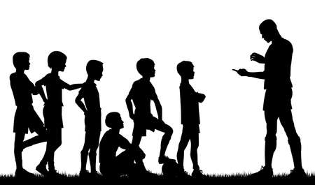 Editable silhouette of a man coaching children football
