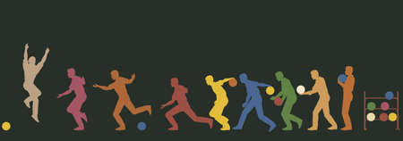 Colorful editable vector silhouette sequence of a man bowling