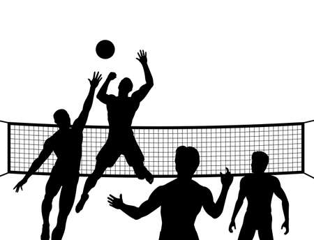 silhouettes of four men playing beach volleyball