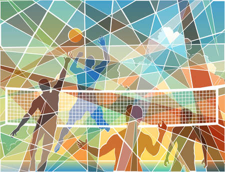 Editable colorful batik mosaic design of four men playing beach volleyball