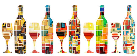 Illustration for Abstract mosaic editable designs of wine bottles and glasses - Royalty Free Image