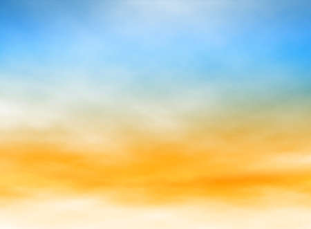 Illustration pour Editable illustration of high misty clouds in a blue and orange sky made with a gradient mesh - image libre de droit