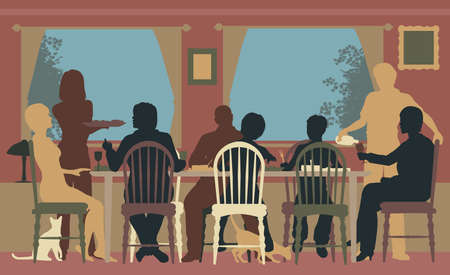 Editable colorful silhouettes of a family dining together at home or in a restaurant