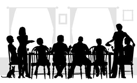 Editable silhouettes of a family dining together with all elements as separate objects