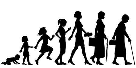 Illustration pour Editable vector silhouettes of different stages of a woman - image libre de droit