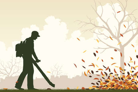 Illustration for Editable vector illustration of a man using a leaf-blower to clear leaves  - Royalty Free Image