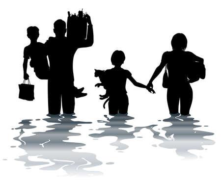 Illustration pour Editable vector illustration of a family carrying belongings through a flood - image libre de droit