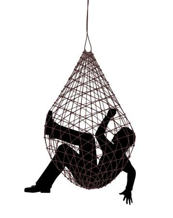 Illustration pour Editable vector illustration of a man caught in a net trap - image libre de droit