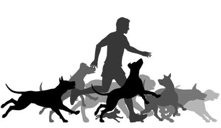 Illustration pour Editable vector silhouettes of a man and pack of dogs running together with all elements as separate objects - image libre de droit