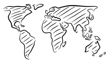 Illustration pour Editable vector rough outline sketch of a world map - image libre de droit