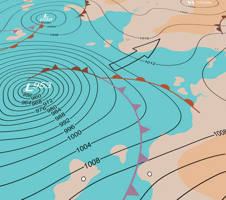 Illustration pour Editable vector illustration of an angled generic weather map showing a storm depression - image libre de droit