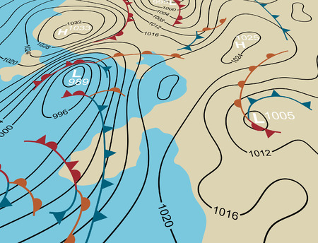 Illustration pour Editable vector illustration of an angled generic weather system map - image libre de droit