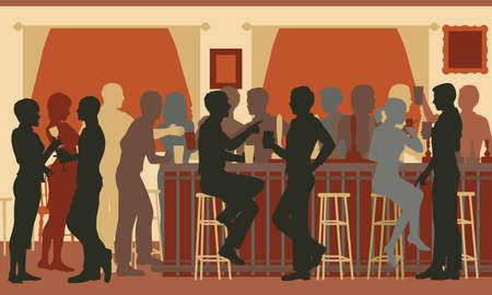 Illustration pour EPS8 editable vector cutout illustration of people drinking in a busy bar in the evening - image libre de droit