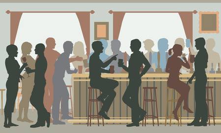 Illustration pour EPS8 editable vector cutout illustration of people drinking in a busy bar in daylight - image libre de droit