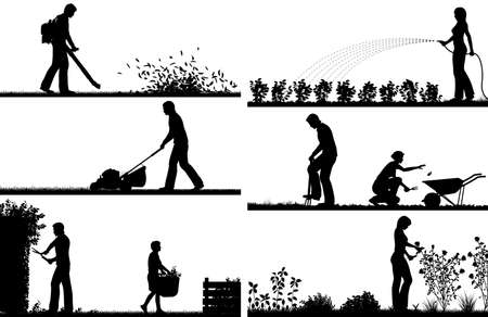 Illustration for Set of eps8 editable vector silhouette foregrounds of people gardening with all figures as separate objects - Royalty Free Image