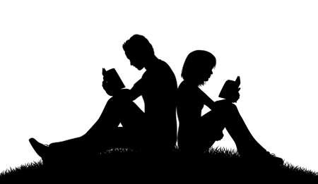Illustration pour Editable vector silhouette of a couple sitting outside reading with figures as separate objects - image libre de droit