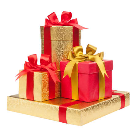 Foto de Gift boxes on white background - Imagen libre de derechos